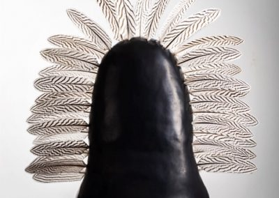 Jules Irving - large smoke fired sculpture with feathers