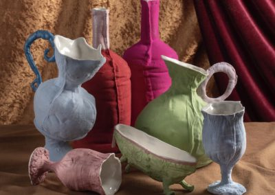 Fiona Alvarez - slipcast vessels with flocking fibre