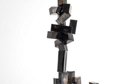 Ron Tuck - tall raku sculpture with metallic black