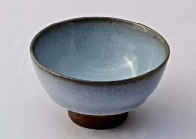 No 33.  Pale Blue Opalescent Glaze on Iron Body  Diam 131mm  $400