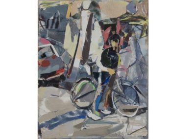 1  Cyclist in Paris - Newtown, Oil and Archival Collage on Cotton Duck  $1400