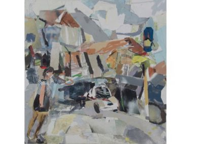 2  Woman and Car in Newtown, Oil and Archival Collage on Linen  $1600