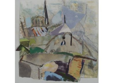 4  Notre Dame Remembered, Oil on primed archival paper with collage  $900
