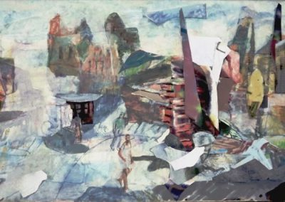 10  The Walls of the City, Oil and Archival Collage on Linen  $2400