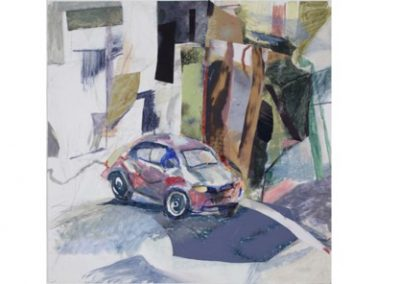 14  New Car, Oil on Primed Archival Paper with Collage  $900